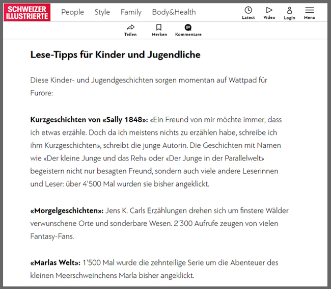 Schweizer Illustrierte - Jens K. Carl - Was ihr über Wattpad wissen müsst